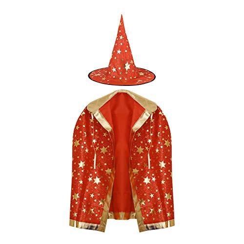 YSXY Kinder Halloween Kostüm Set Halloween Umhang Mit Hut Lange Glitzernd Stern Bekleidung Fasching Karneval Kostüm Cosplay Requisiten Set für Mädchen Junge