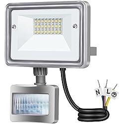 GOSUN 10W Projecteur LED détecteur de mouvement Lumière led mural IP 65 étanche, DC 12-24V, lumière du jour blanc, 6000K 950LM éclairage extérieur idéal pour jardin, cour, couloir, etc