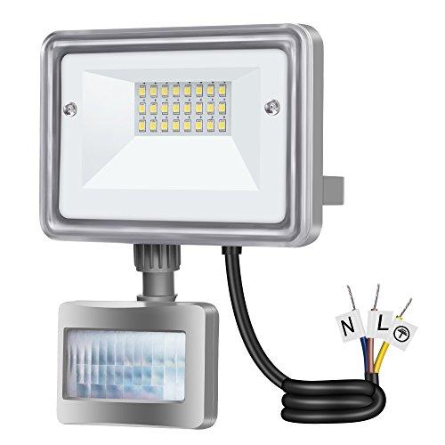Gosun 10W Faro LED con sensore di movimento, DC12-24V, 950LM Luce Bianco Diurna 6000K Lampada esterni, luci di sicurezza con PIR, impermeabile IP65 per casa, giardino, garage, moderno floodlight