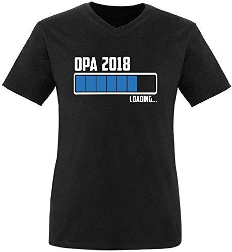 EZYshirt® Opa 2018 Herren V-Neck T-Shirt Schwarz/Weiss/Blau