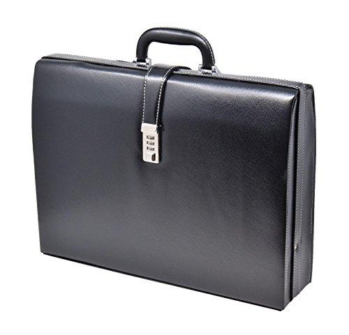 Kunstleder Groß Attache Koffer Exekutive Geschäft Klassisch Aktentasche HLG919 Schwarz (Executive Aktenkoffer Attache)