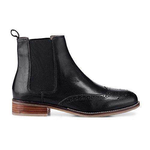 Cox Damen Damen Chelsea-Boots Aus Leder, Schwarze Stiefelette mit Stretch-Einsatz und Lochmuster Schwarz Leder 38