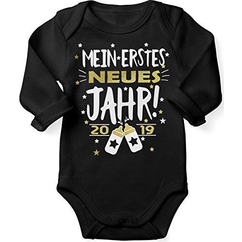Mikalino Babybody mit Spruch für Jungen Mädchen Unisex Langarm Mein erstes neues Jahr! 2019 | handbedruckt in Deutschland | Handmade with Love, Farbe:schwarz, Grösse:62