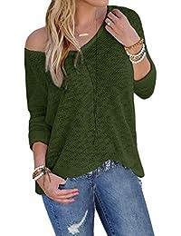 YOINS Bluse Damen Pullover Damen Langarmshirts Schulterfrei Oversize Tshirts Damen Herbst V-Ausschnitt Blusen Oberteile Casual