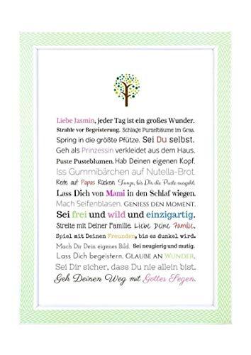 Taufgeschenk für Mädchen: Personalisiertes Bild (PDF oder Kunstdruck in A4) - Geschenk Taufe | Gastgeschenk Patenkind von Taufpaten | Babygeschenke mit Namen