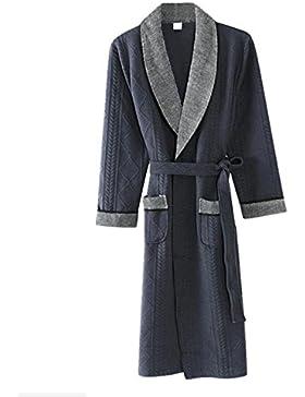 PFSYR Camisón de hombre otoño e invierno/Pijamas confort algodón/Otoño e invierno cálido albornoz Ropa de hogar