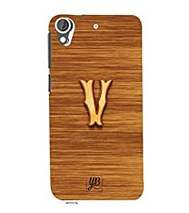 YuBingo Designer Printed Plastic Mobile Back Case Cover Panel for HTC Desire 628 ( Vibrant Letter V (3D Looking Wooden Printed on Plastic) )
