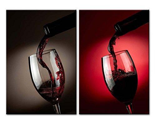 ein Splash aus Flasche in Wein Glas auf Schwarz und Rot Hintergrund 2Gemälde Moderne Giclée-gerahmt-Kunstwerken Wein Bilder Foto Prints (Halloween-drink-ideen Für Kinder)