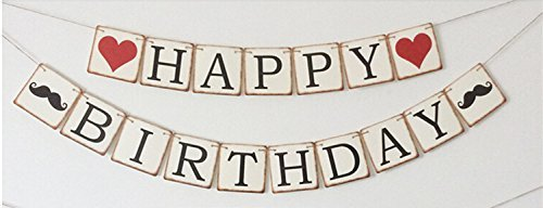 Meiysh Vintage Wimpelkette Banner Happy Birthday Party Deko Girlanden Party Supplies
