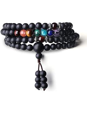 COAI® 7 Chakra Achatperlen Geschlifferner Onyx Rotes Tigerauge Gebetsarmband/Halskette für Damen/Herren