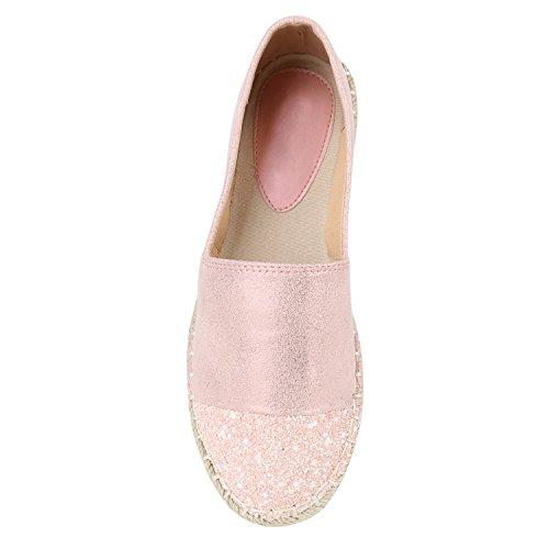 Damen Espadrilles | Bast Slipper | Glitzer Sommerschuhe | Metallic Flats Pailetten | Stoff Schuhe Plateau Rosa Metallic Glitzer