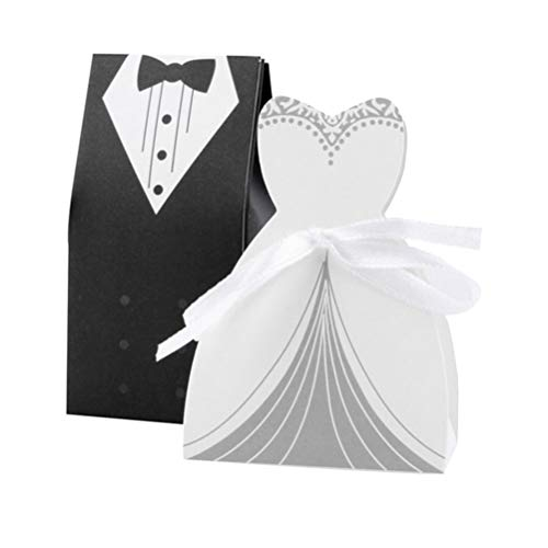 Amosfun 100 Stücke Kreative Braut und bräutigam pralinenschachtel Partei behandeln Papier Box Beutel mit Band (Zweireiher Anzug)