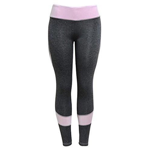 Rawdah Pantalon De Yoga Coutures Mode Nouveau Ffemmes Skinny Leggings Taille Haute Élastique Yoga Fitness Sports en Forme De Coeur Pantalons Élastique Trouser Pants pour Femmes (M, Gris)