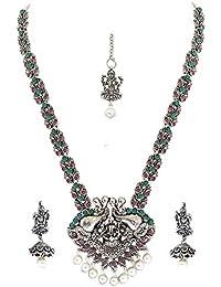 7f98d4a1af Matushri Art Temple Jewelry of God Laxmi Dancing Elephant Antique German  Oxidised Silver Plated Jewellery Set