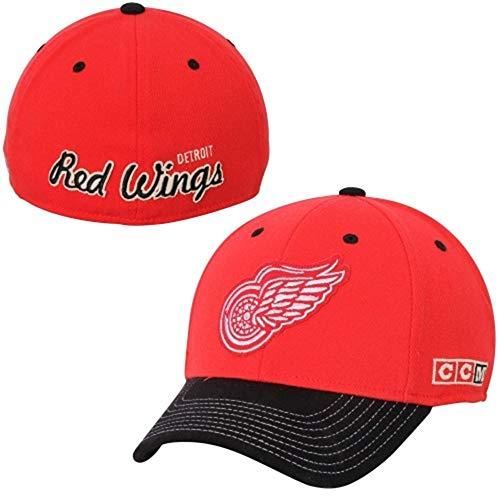 CCM Detroit Red Wings Zweifarbig Rot/Schwarz Flex Fit Hat/Cap, Herren Damen Unisex-Kinder, Rot, Small-Medium