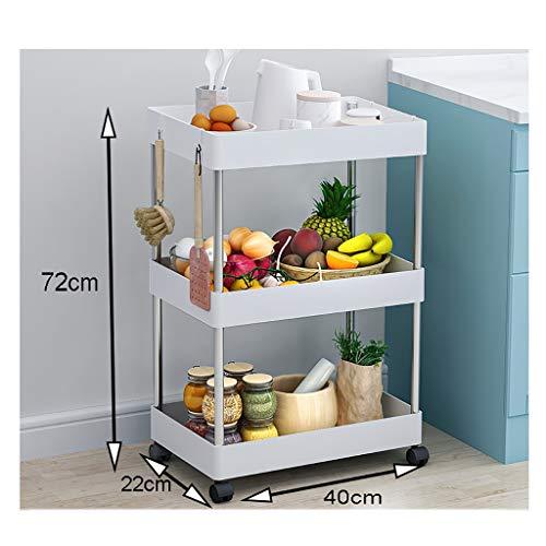 WSC Regalboden Schlafzimmer Küche Trolley WC Lagerung Regal Mobil Badezimmer Rad Abstellflächen (Größe : 40cm×22cm×72cm)