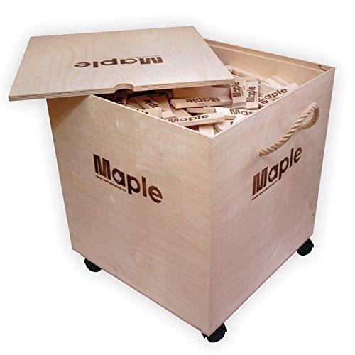 1000 Stück/Steine Holz Bauklötze ökologische Bausteine Holzbox MAPLE Holzbausteine