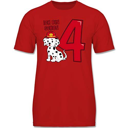 Geburtstag Kind - Ich Bin Schon 4 Feuerwehr Hund - 104 (3-4 Jahre) - Rot - F130K - Jungen Kinder T-Shirt (Welpe Kleiner Ich Ein Bin)