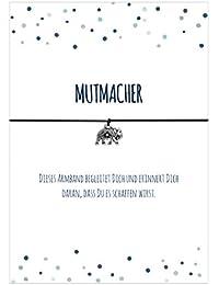 MUTMACHER - Armband mit Anhänger Elefant versilbert, elastischem Textilband in schwarz und liebevoller Karte