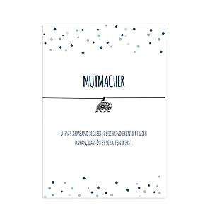 MUTMACHER – Armband mit Anhänger Elefant versilbert, elastischem Textilband in schwarz und liebevoller Karte