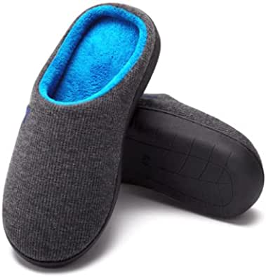 ComfyDegree Premium Men's Two-Tone Memory Foam Slippers with Anti-Skid Rubber Sole for Indoor and Outdoor