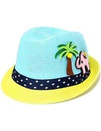 Casquette enfant Dessin animé enfants chapeau de paille arbre de noix de  coco éléphant enfants chapeau melon protection solaire chapeau… e6f0f7de176