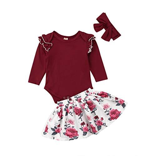 Kleinkind Kleinkind Baby Mädchen Rot Langarm Oansatz Strampler Floral Plissee Kleid Rock Outfit Set mit Stirnband Geschenk 3 Stück Kleidung Set (12-18 Monate, rot) -