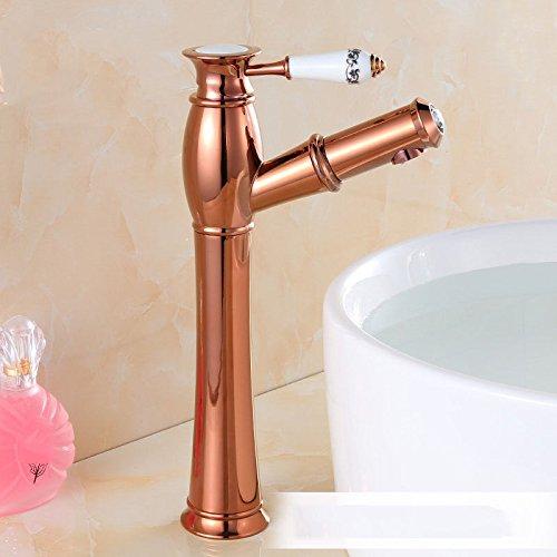 LHbox Rose Gold Euro-Kupfer Waschtisch Armatur Waschtisch Armatur heiß und Kalt Waschen Sie es skalierbar zu Ziehen: Tippen,