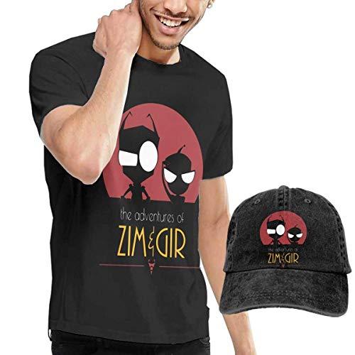 Herren Kurzarmshirt Mens Funny Invader Zim Gir Tees and Washed Denim Hat Casquette Black ComfortSoft Cotton (Invader Zim Hoodie)