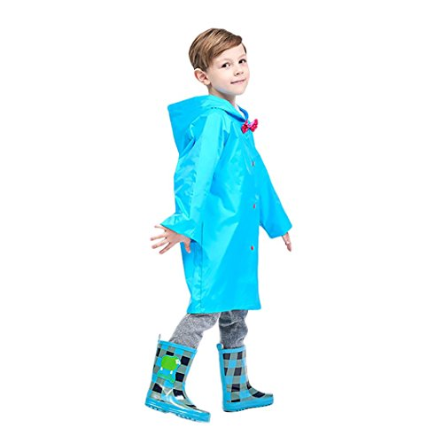 VENIMASEE Kids Durable Rain Cape/Raincoat Portable Hooded Poncho for Boys Girls - Blue