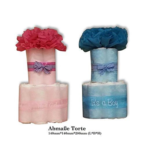 Windeltorte Taufe Geburt Windeln HilKeys Mädchen Junge rosa blau Geschenk Baby (2 (3-6kg ) Schaukelpferd rosa)