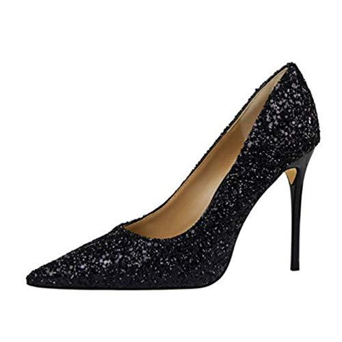 Frauen High Heels solide Sequined Tuch Flache Party Schuhe Spitze Zehen Pumpen hofschuhe Höhe 9cm