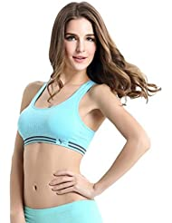 HARRYSTORE 2017 Nuevo Mujeres Sujetador acolchado Vest Athletic Fitness Sports Top Yoga Stretch Bra (Azul, M)