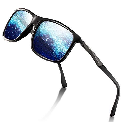 Sport Sonnenbrille Herren - Polarisierte Sonnenbrille für Herren und Damen UV Schutz Leichter Rahmen zum Radfahren Skifahren Autofahren Fischen Laufen Wandern Sport Verspiegelte Sonnenbrille Damen (2 Fisch-auge Blaue)