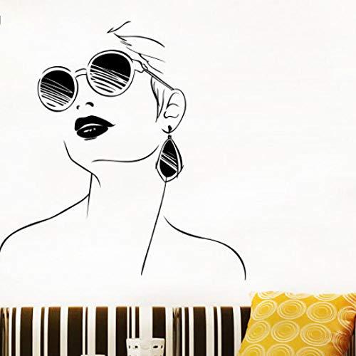 Wandaufkleber Mädchen Schönheitssalon Wandtattoo Frau Brille Lippen Wandaufkleber Vinyl Abnehmbare Innenfenster Decor Kunstwand