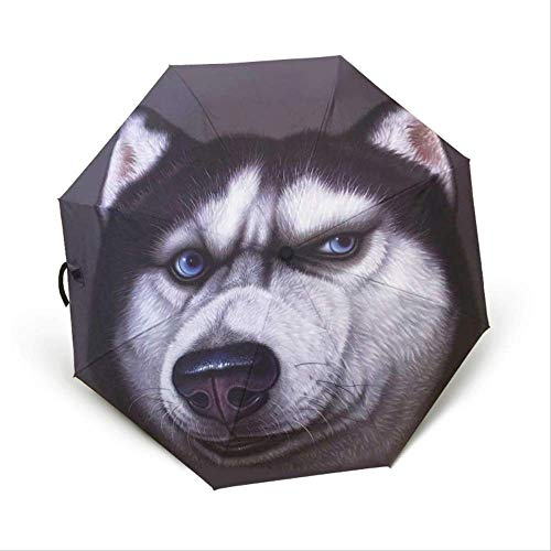 DXQY Regenschirm Lustige Persönlichkeit Kreative Tier Katze Kopf Hundekopf Sonnenschutz Sonnenklapp Dreifach Automatik KlarschirmLittle Ha