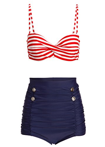 Maritimer Sailor Matrosen Retro Pin Up Vintage Damen Bikini mit hoher Taille (2-tlg. Set) – Gr. XXL