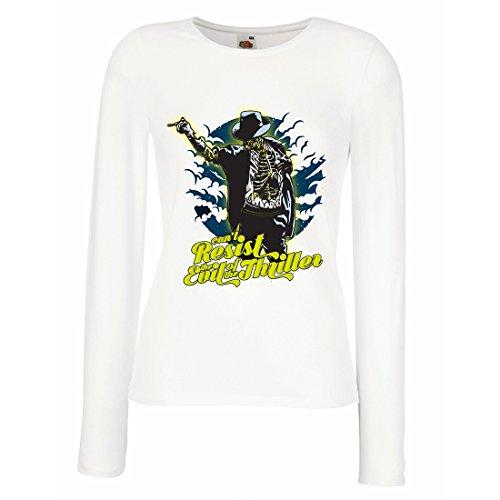lepni.me Weibliche Langen Ärmeln T-Shirt Vintage Band Kleidung, 80er Konzert Waren (XX-Large Weiß Mehrfarben)