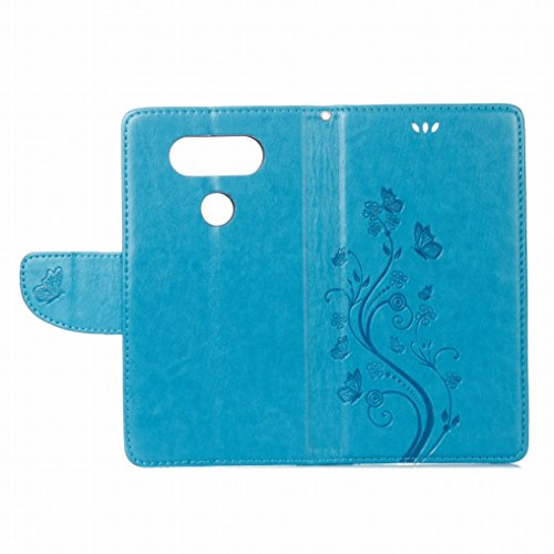 Custodia LG V20 / H910 / H918 Cover Case, Ougger Fiore Farfalla Portafoglio PU Pelle Magnetico Stand Morbido Silicone Flip Bumper Protettivo Gomma Shell Borsa Custodie con Slot per Schede (Marrone) Azzurro