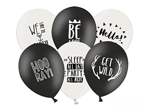 (6 Stk Luftballon PARTY schwarz weiss Partydeko Luftballons Geburtstag Vintage)