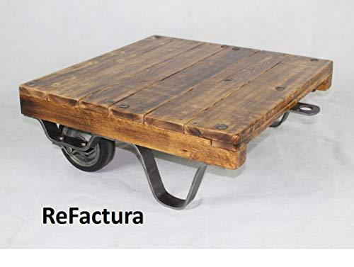 Kleiner Couchtisch aus alter Rollpalette, Palettenwagen, Lofttisch, Beistelltisch, Palettentisch