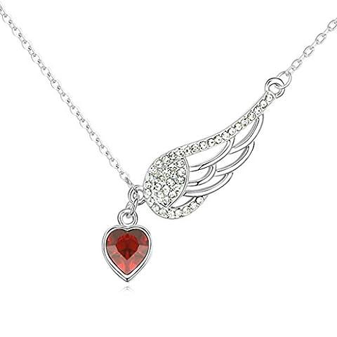 KnSam Collier Femme Alliage Pendentif Heart Forme d'Aile Rouge [Collier Fantaisie]