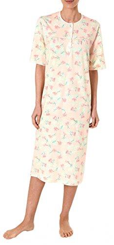 Normann Damen Nachthemd kurzarm klassisches Blumenmuster 181 211 90 302, Farbe:apricot, Größe:48/50