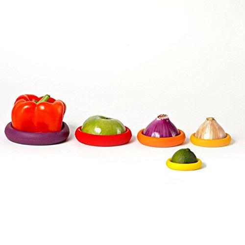 Food Huggers Set 5 Wiederverwendbare Silikon-Nahrungsmittel Savers patentiertes Produkt Set von 5 - exklusiver Mini-Banane klein. Herbst-Ernte