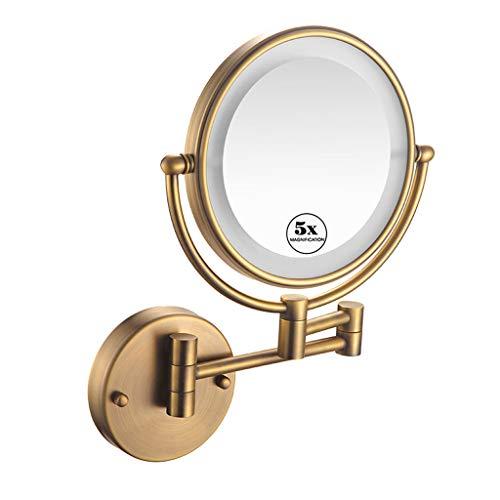 Espejo de maquillajede Pared con luz LED, Aumento de 5X Espejo de Pared de 8 Pulgadas, Espejo Cosmético...