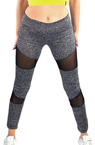 Sportliche Damen Leggings mit transparent Einsatz schwarz oder grau-meliert , Größe:M/L, Farbe:Grau (Frauen Leggings Versandkostenfrei)