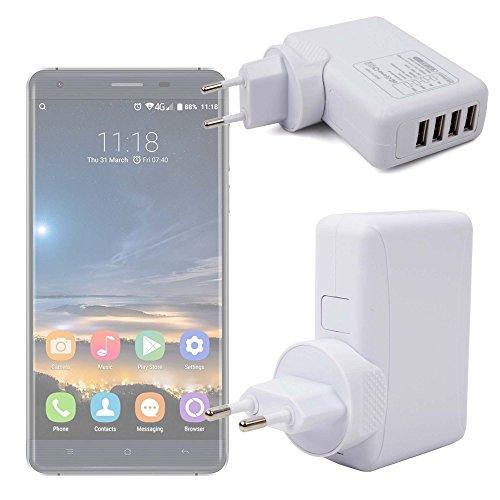 DURAGADGET Cargador De Viaje Blanco para Smatphone Hisense C30 Rock Lite/Onix S405 / Onix S551 / Oukitel K3 / SORAKA Z8 / VKWorld Mix Plus - con 4 Puertos USB Y Enchufe Europeo