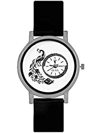 Octus Peacock Black Colour Round Dial Analog Watch For Girls And Women
