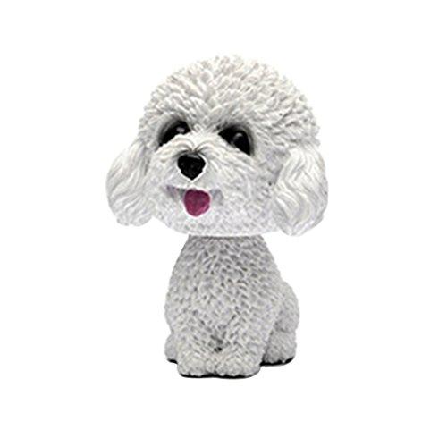 Preisvergleich Produktbild VORCOOL Wackelkopf Hund Wackelfiguren für Auto Armaturenbrett Dekoration (Weiß)