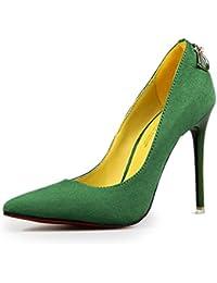 Minetom Mujer Zapatos de Tacón con Punta Cerrada Clásico Trabajo High Heel Shoes Ante Zapatos de Tacón Stiletto